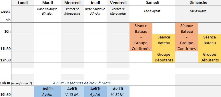 L'Aviron Clermont Aydat, horaires