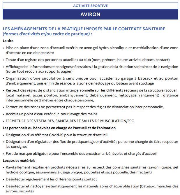 L'aviron Clermont Aydat, coronavirus, fiche technique déconfinement