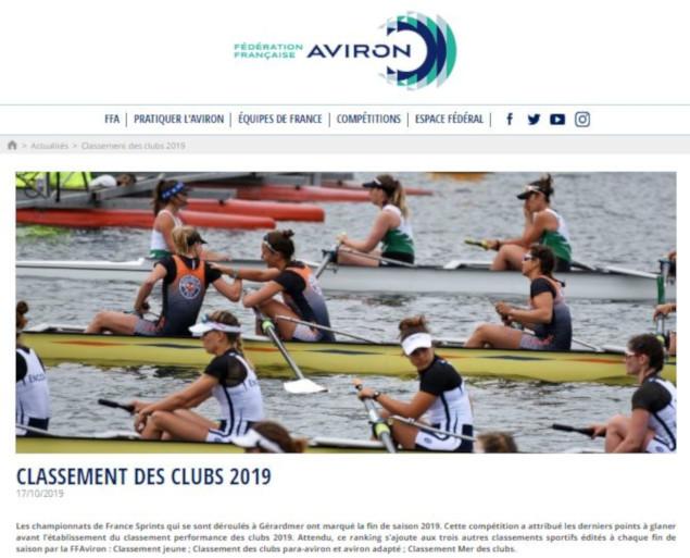 L'Aviron Clermont Aydat, classement des clubs 2019, Fédération Française d'Aviron