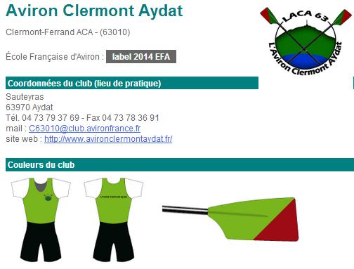Aviron Clermont Aydat, les couleurs