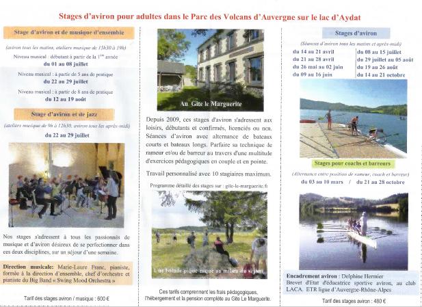L'Aviron Clermont Aydat, stages, Gîte le Marguerite
