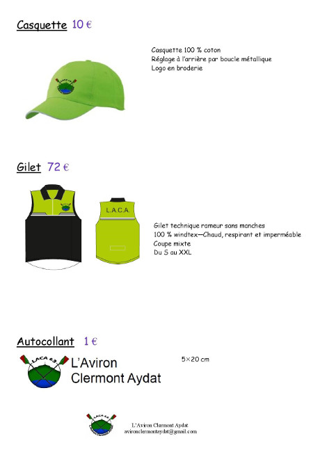 L'Aviron Clermont Aydat, la boutique